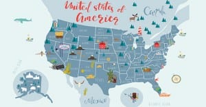 map of the United States with landmark icons