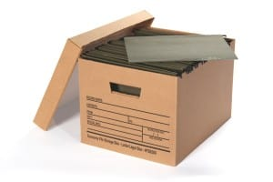 brown records storage box with files inside