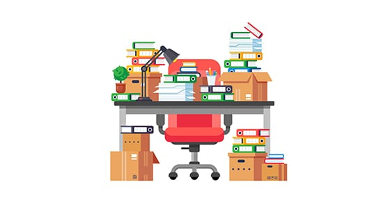 illustration of stacks of paperwork sitting on a desk and floor | tax document retention for small businesses | Dalby Wendland & Co. | CPAs | Business Advisors | Colorado | Grand Junction | Glenwood Springs | Montrose