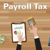 cartoon desk with calculator and words payroll tax