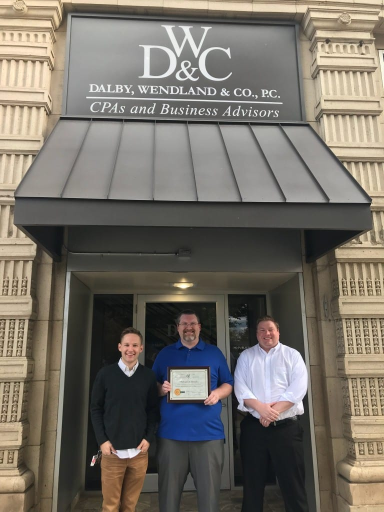 Dalby Wendland Accountant Michael Brooks accepts Young Professional of the Quarter Award | Michael Brooks, Young Professional of the Quarter | Dalby, Wendland & Co., P.C. | CPAs | Business Advisors | Grand Junction Colorado